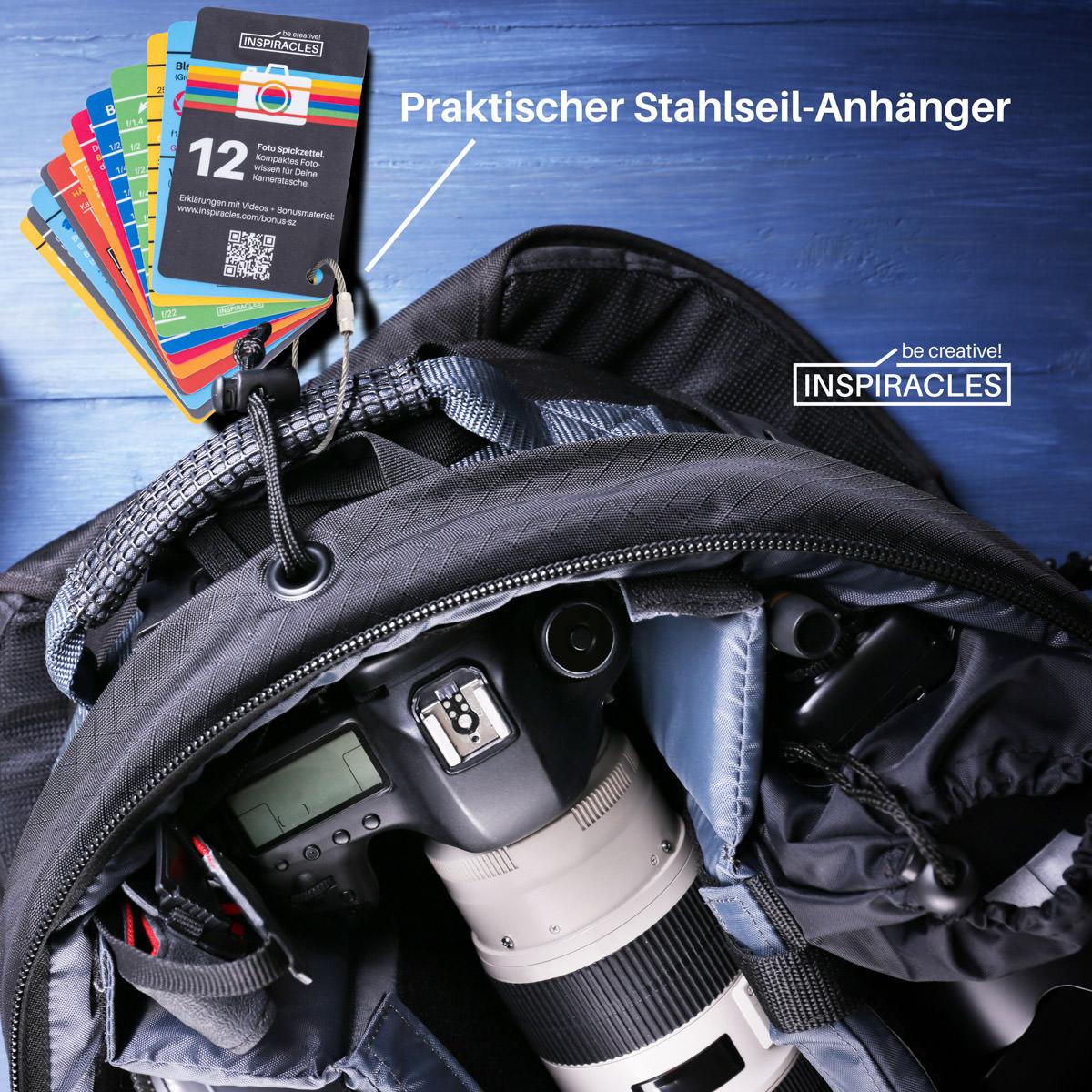Inspiracles-Spickzettel an einem Foto-Rucksack